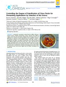 Controlling the Degree of Esterification of Citrus ... - ACS Publications