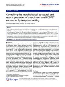 Controlling the morphological, structural, and optical properties of one ...