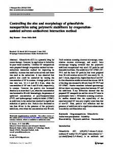 Controlling the size and morphology of griseofulvin
