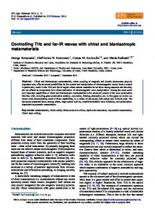 Controlling THz and far-IR waves with chiral and bianisotropic ...