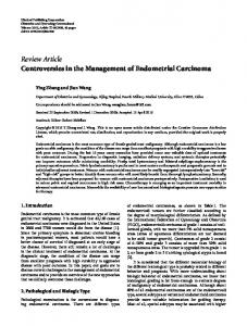 Controversies in the Management of Endometrial Carcinoma