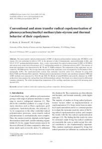Conventional and atom transfer radical copolymerization of ...