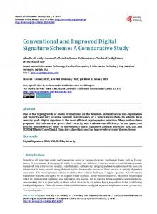 Conventional and Improved Digital Signature Scheme - Scientific ...