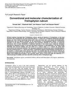 Conventional and molecular characterization of ... - Academic Journals