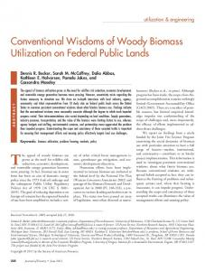 Conventional Wisdoms of Woody Biomass Utilization on Federal ...