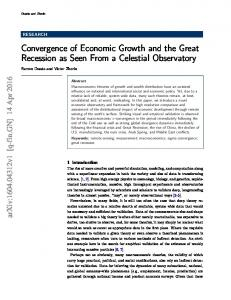 Convergence of Economic Growth and the Great Recession as ... - arXiv