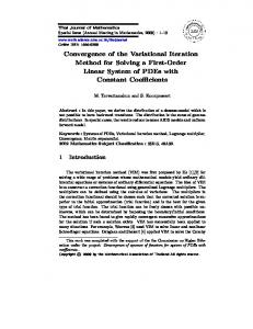 Convergence of the Variational Iteration Method for ... - CiteSeerX