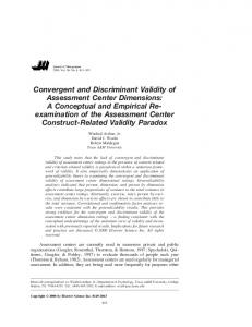 Convergent and Discriminant Validity of Assessment Center Dimensions