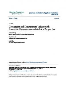 Convergent and Discriminant Validity with Formative Measurement: A ...