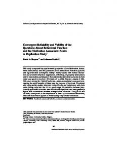 Convergent Reliability and Validity of the Questions About Behavioral ...