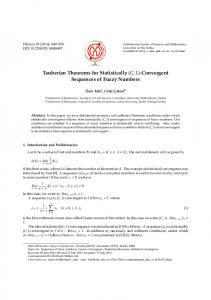 Convergent Sequences of Fuzzy Numbers - doiSerbia