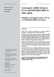Convergent validity between SF-36 and WHOQOL ... - Semantic Scholar