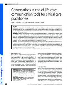 Conversations in endoflife care: communication tools