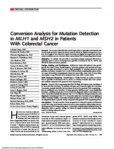 Conversion Analysis for Mutation Detection in MLH1 and MSH2 in ...