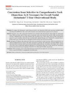 Conversion from Selective to Comprehensive Neck Dissection: Is It ...