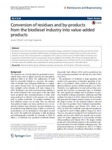 Conversion of residues and by-products from the biodiesel industry ...