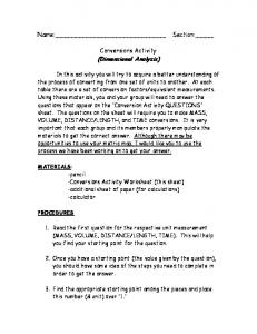Conversions Activity (Dimensional Analysis)