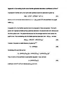 Converting fourth-order Zernike spherical aberration coefficients to D ...