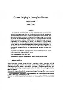 Convex Hedging in Incomplete Markets