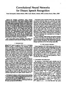 Convolutional Neural Networks for Distant Speech Recognition