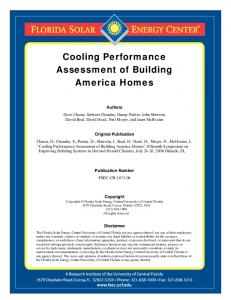 Cooling Performance Assessment of Building America Homes