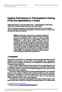 Cooling Performance of Thermoelectric Cooling (TEC) and