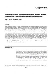 Coomassie Brilliant Blue Removal/Disposal from Gel Destain and ...