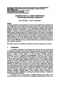 COOPERATION AS A CORE COMPETENCY. THE ...