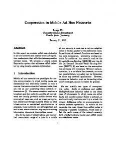 Cooperation in Mobile Ad Hoc Networks - CiteSeerX