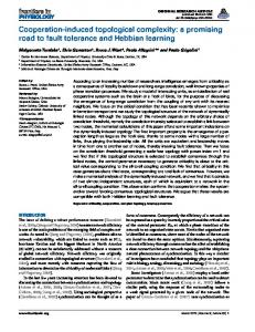 Cooperation-induced topological complexity: a ... - Semantic Scholar