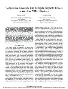 Cooperative Diversity Can Mitigate Keyhole Effects in Wireless MIMO ...