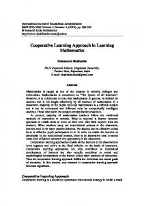 Cooperative Learning Approach in Learning ...