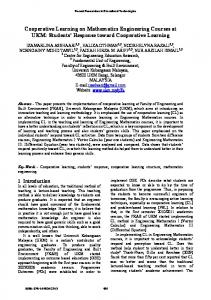 Cooperative Learning on Mathematics Engineering Courses ... - wseas