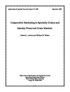Cooperative Marketing in Specialty Grains and ... - AgEcon Search