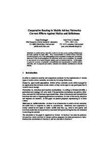 Cooperative Routing in Mobile Ad-hoc Networks: Current ... - CiteSeerX