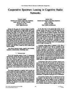 Cooperative Spectrum Leasing in Cognitive Radio Networks