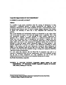 Cooperative Support Systems for Rural ... - AgEcon Search
