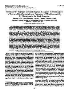 Cooperativity Between Different Nutrient Receptors in Germination of ...