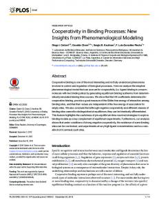 Cooperativity in Binding Processes: New Insights