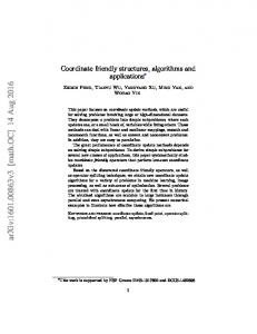 Coordinate friendly structures, algorithms and applications - arXiv