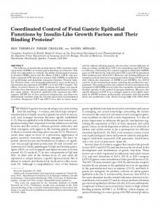 Coordinated Control of Fetal Gastric Epithelial Functions by Insulin ...