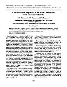 Coordination Compounds of 3d-Metals Salicylates with ... - Springer Link