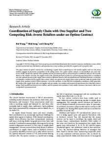 Coordination of Supply Chain with One Supplier and Two Competing ...