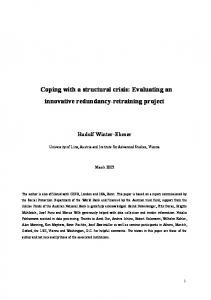 Coping with a structural crisis: Evaluating an innovative ... - CiteSeerX