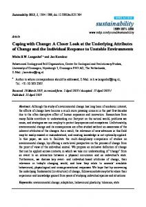 Coping with Change: A Closer Look at the Underlying ... - MDPI