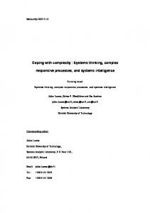 Coping with complexity : Systems thinking, complex ... - CiteSeerX