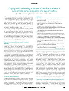 Coping with increasing numbers of medical students in rural clinical ...