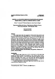 COPPER ALLOYS WITH IMPROVED PROPERTIES: STANDARD ...