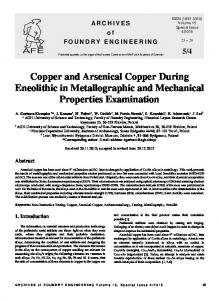 Copper and Arsenical Copper During Eneolithic in ...