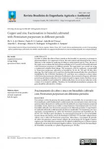 Copper and zinc fractionation in biosolid cultivated with Pennisetum ...